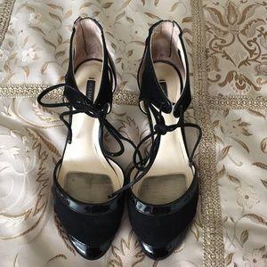 Alex Marie Black Suede & Patent Heels